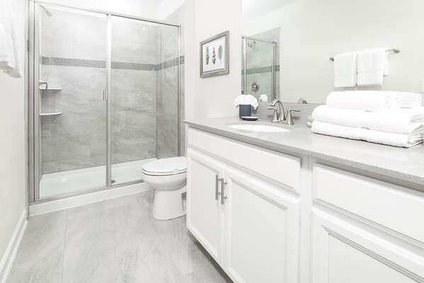 Full bathroom with a walk in shower