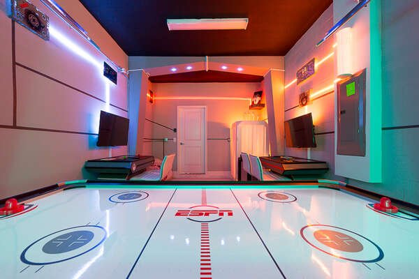 Play all day at this cool air hockey table