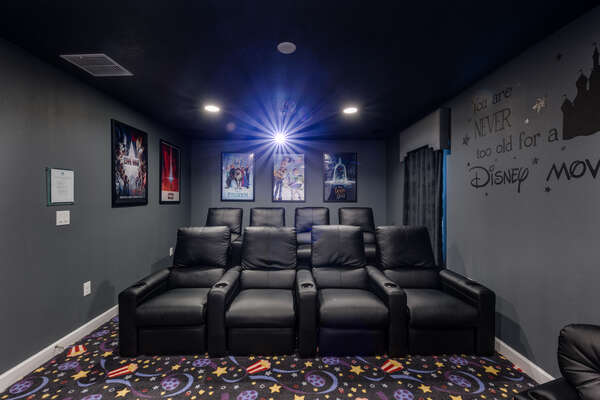 The home theater has comfortable seating for 9