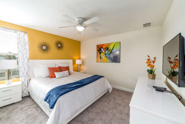 This modern bedroom provides you comfort for your stay here
