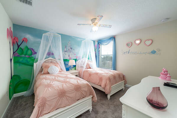 The princesses will love their own fairytale inspired bedroom