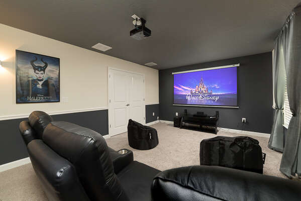 Enjoy a movie on the large screen with the private home theater