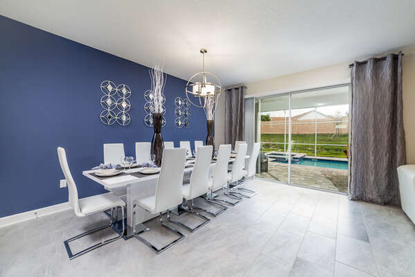 Enjoy the luxury of dinner at the beautiful dining table