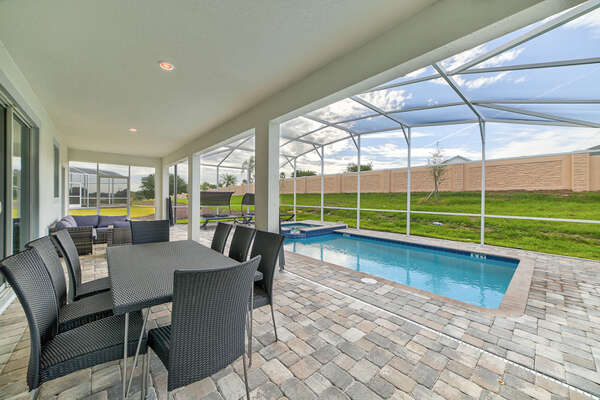 Enjoy a relaxing moment outside on the patio seating