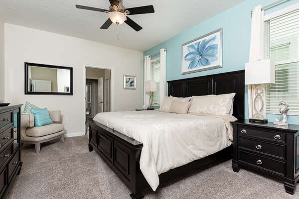 Sleep comfortably after a tiring day in this master bedroom