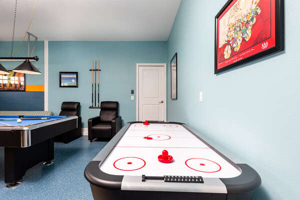 Up for another round of games There`s also air hockey