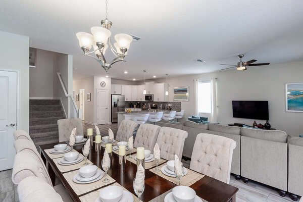 The beautiful dining area seats up to 10 people for perfect family dinners