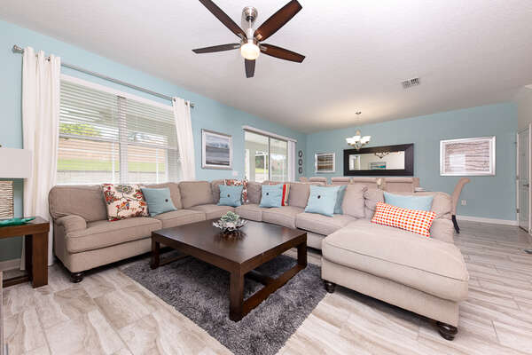 The open living area provides lots of space and seating for the entire family