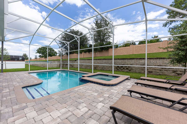 Enjoy the pool area all day long