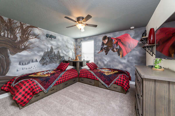 The kids will love the familiar characters and scenes in their own bedroom