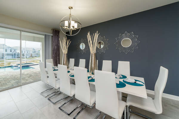 Dining area has access to the pool area making going back and forth during a pool day easy