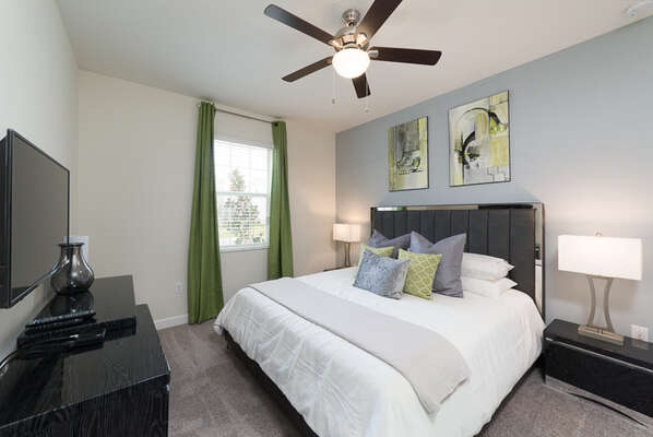 Retire at the end of the day in the master suite with a king size bed