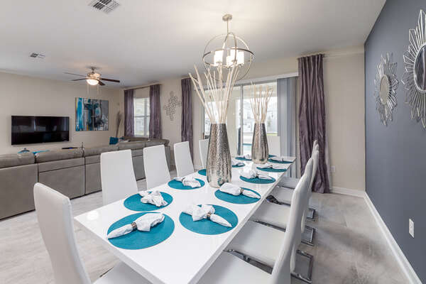 A formal dining area for 10
