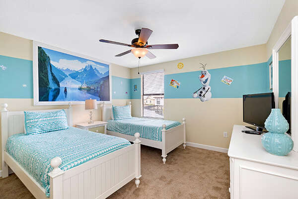 A custom bedroom with 2 twin beds perfect for the little ones