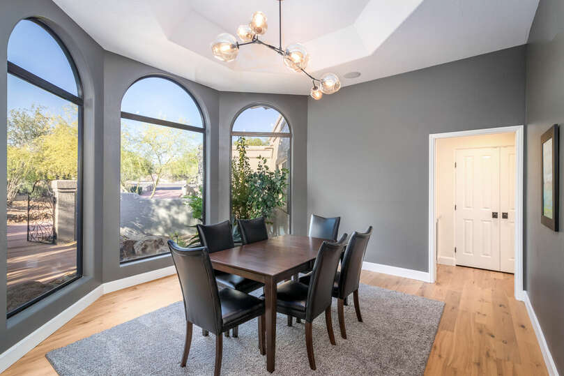 Dining room with seating for five.