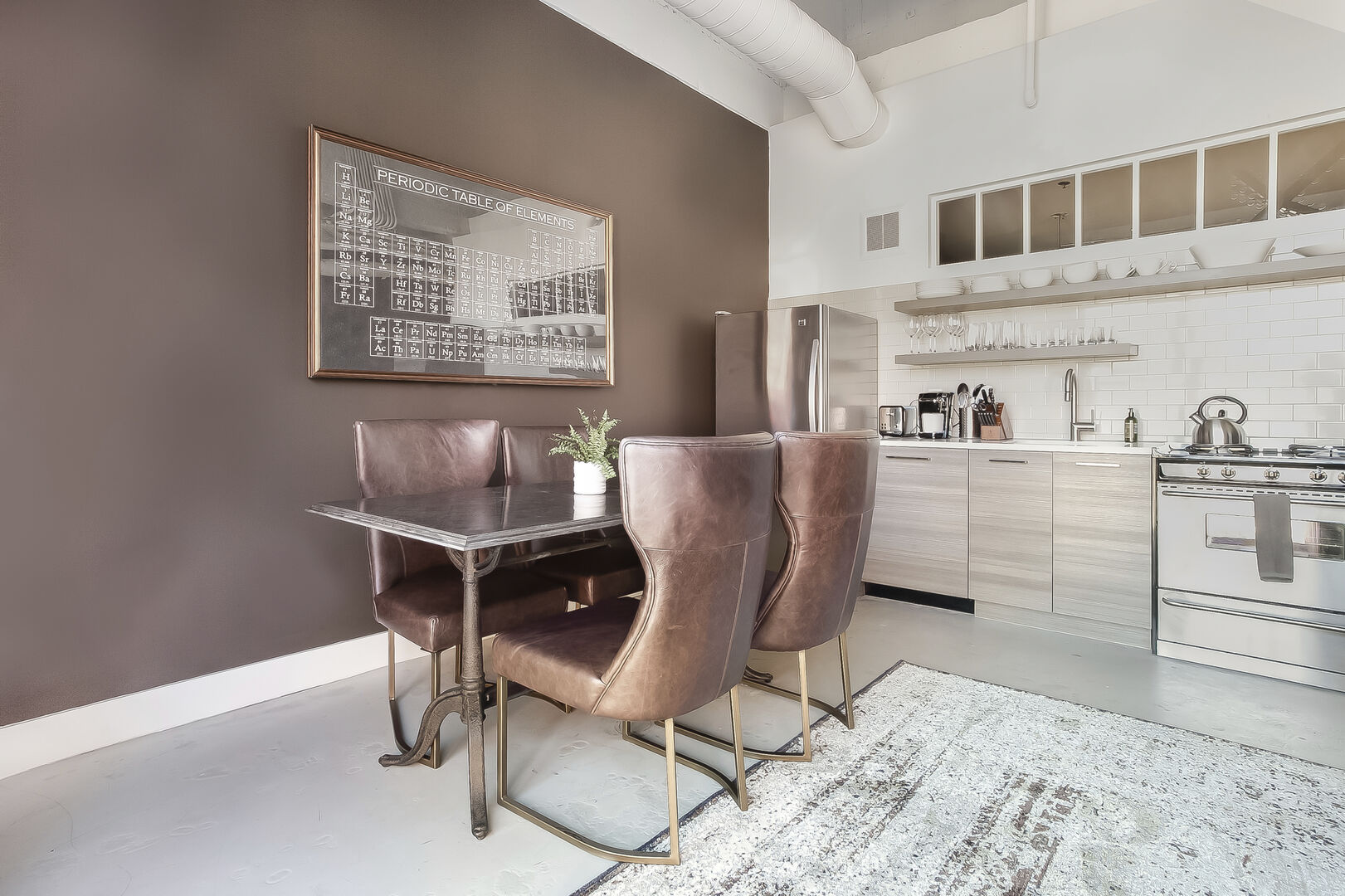 Dining Area and Kitchen at Ponce City Market Apartment