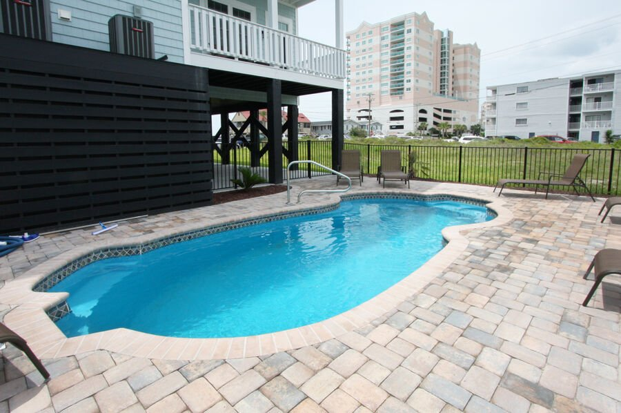 A Perfect Escape - vacation home on the boulevard in Cherry Grove, North Myrtle Beach | pool view 2 | Thomas Beach Vacations