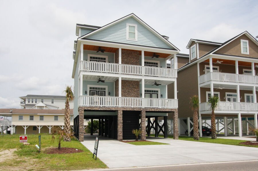 A Perfect Escape - vacation home on the boulevard in Cherry Grove, North Myrtle Beach | front view | Thomas Beach Vacations