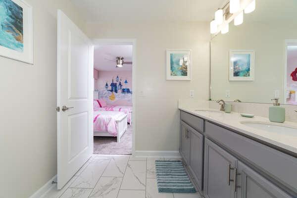 A shared Jack and Jill style bathroom