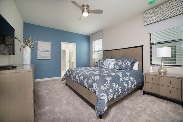 Master suite on the first floor with a King bed
