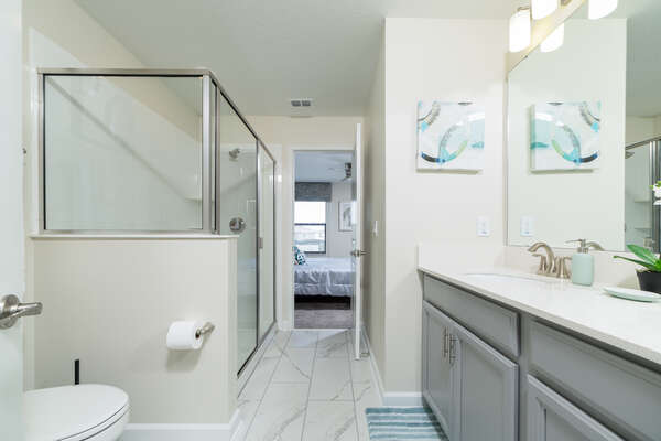 With a walk-in shower