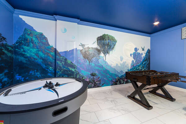 This fun game room will make you feel like you're in the mountains of the Mo'ara Valley