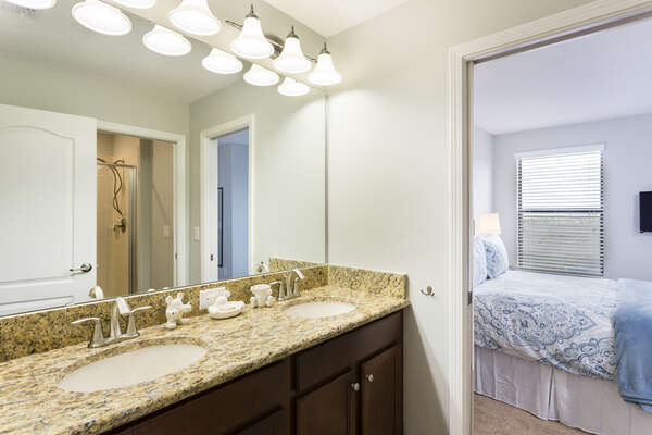 Large ensuite bathroom with private shower