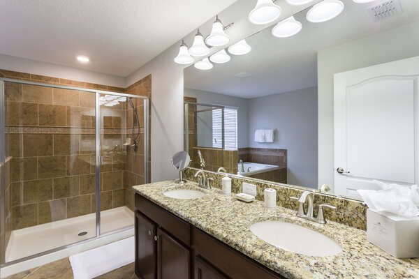 Gorgeous ensuite master bathroom with plenty of counter space