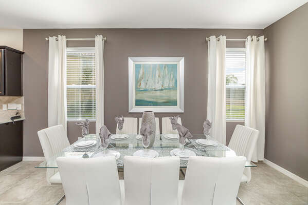Enjoy a meal together in the luxurious dining area