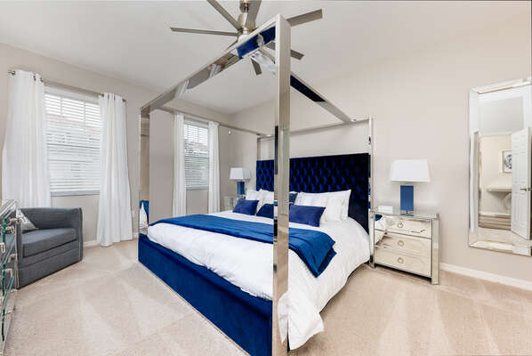 Luxurious King bed downstairs suite