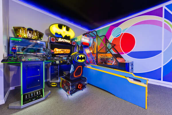 Try for the highest score in the batman arcade machine