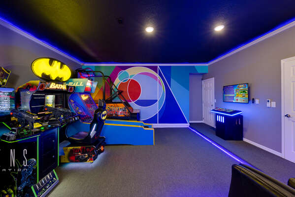 Playing a game in the adjoining arcade area
