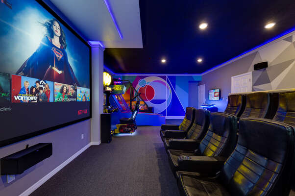 A huge 150 inch projector screen will make you feel like you`re out at the movies