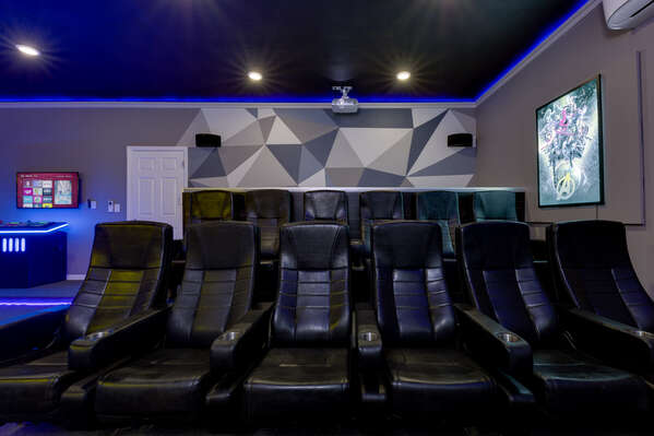 12 comfortable seats for everyone to watch a movie together