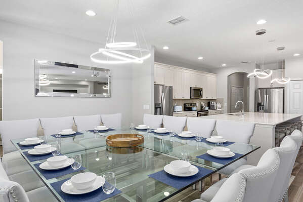This gorgeous dining table seats 16 guests