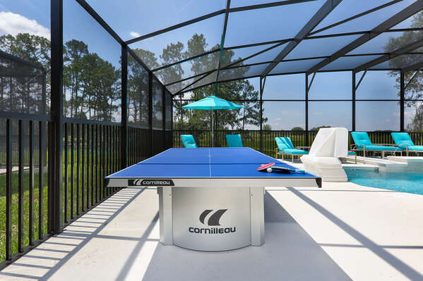 A ping pong table outside for fun and games