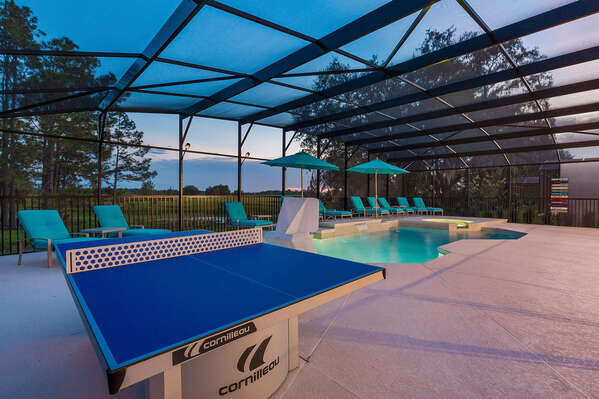 Play ping pong out by the pool