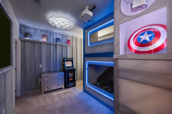 Twin/Twin bunk beds in this fun custom built room