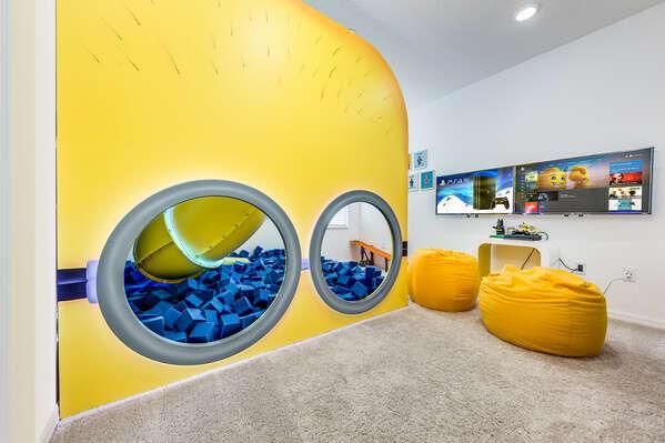 A custom secret playroom upstairs