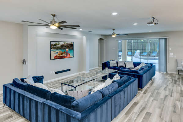 You have the option of enjoying your show on a 75 inch SMART TV or 150 inch projection screen