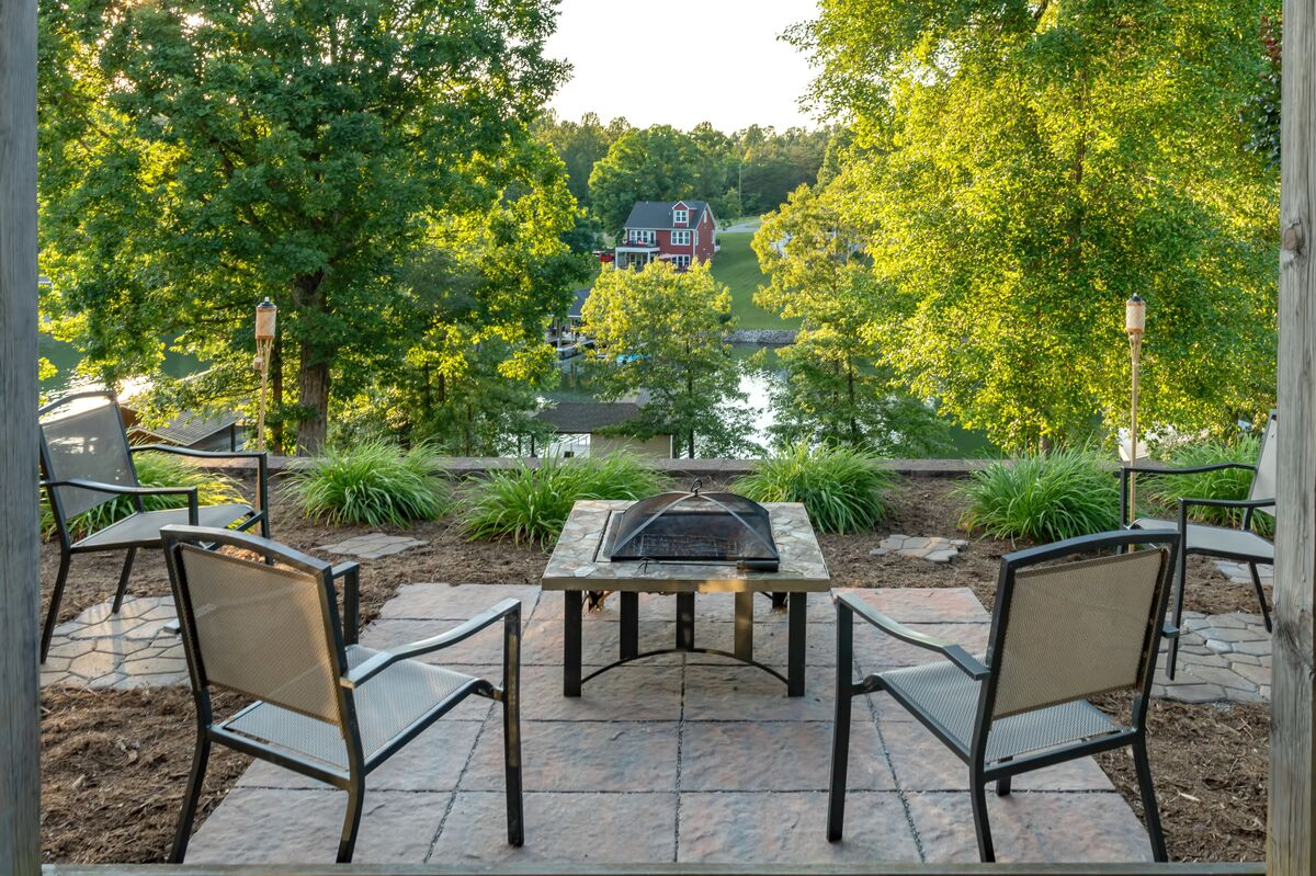 Seating Area with Fire Pit Overlooking the Water