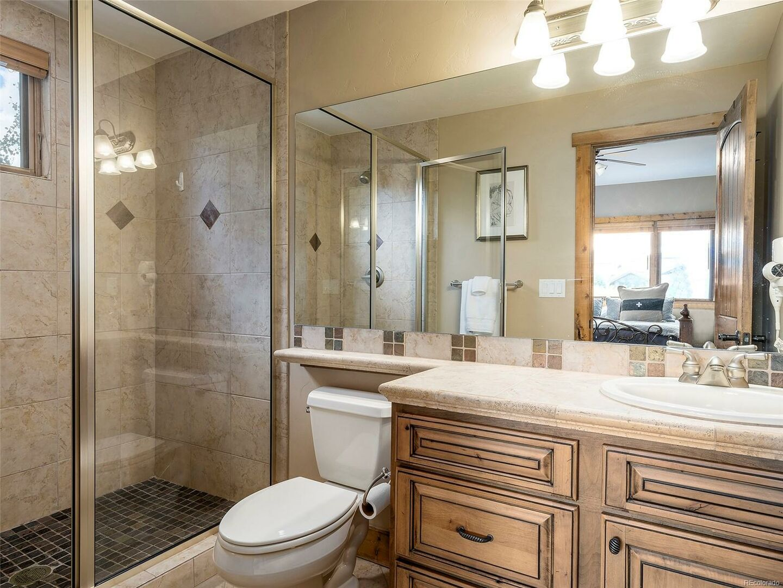 Shower, Toilet, Single Sink Vanity, and Mirror.