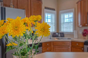Flowers on the Island in the Kitchen