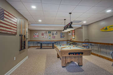 Large Game Room with Air Hockey and Pool Tables