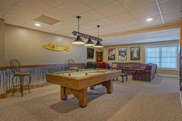 View of Pool Table and Sitting Area
