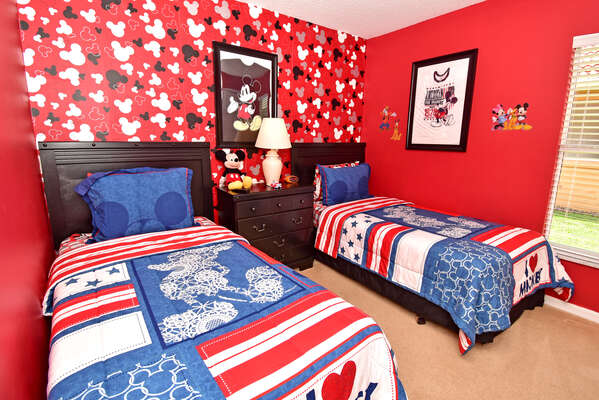 Bedroom 4 has a fun Mickey Mouse theme