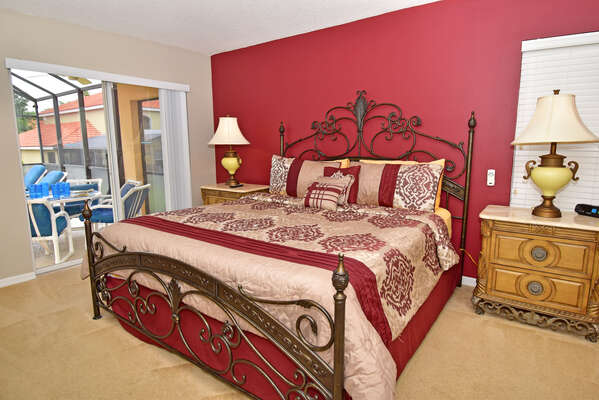 Master bedroom has pool access  All bedrooms are ground floor