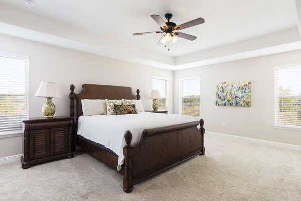 Spacious king master suite