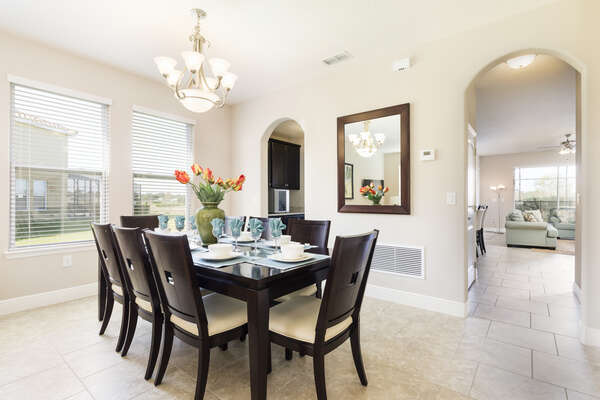 Formal dining table with seating for 8