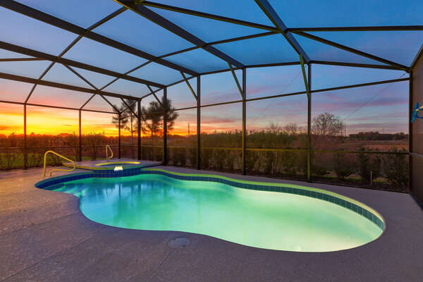 Spend beautiful sunset evenings by your own pool